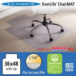"ES Robbins Chair Mat for Flat/Low Pile Carpet, 45"" x 53"" w/Lip, Clear"